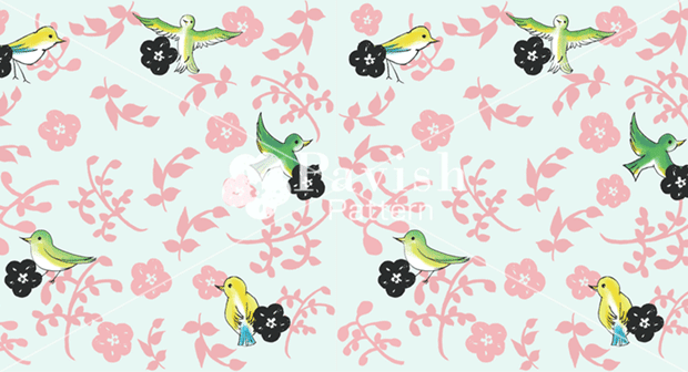 自由な小鳥 Pabvish シームレスパターン 開運 金運アップ ビューティ運 鳥