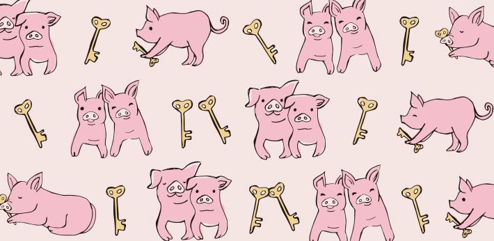 幸運のシンボル、ピンクの豚のパターン柄【Pavish Pattern】