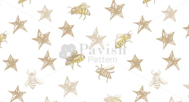 ミツバチとスタースタッズのシームレスパターン(Pavish Pattern)