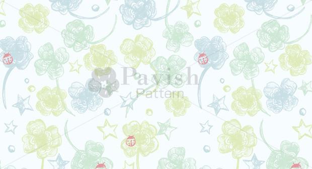 四葉のクローバーと星とテントウムシのパターン【Pavish Pattern パビッシュ パターン】