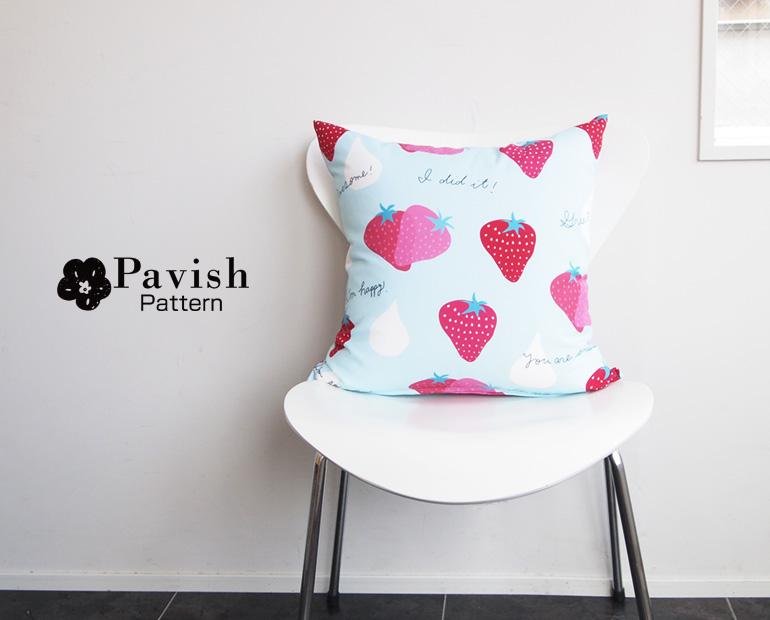 ストロベリードロップクッション【Pavish Pattern】