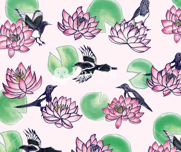 幸運を呼ぶ鳥カササギと蓮のパターン Pavish Pattern