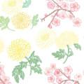 一貫した裕福な生活を意味する菊と梅の花【Pavish Pattern】