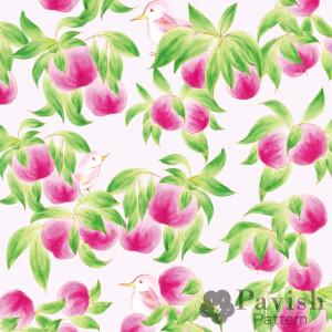 金運アップの桃のパターン柄【Pavish Pattern】