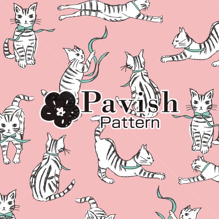 ねこのパターン(ピンク) Pavish Pattern