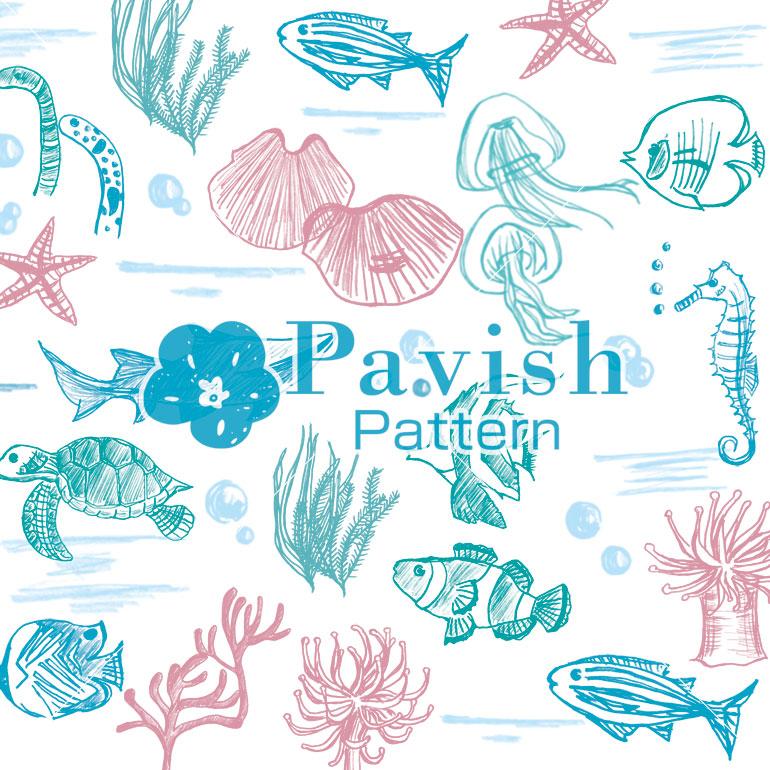 海の生き物のパターン【Pavish Pattern】