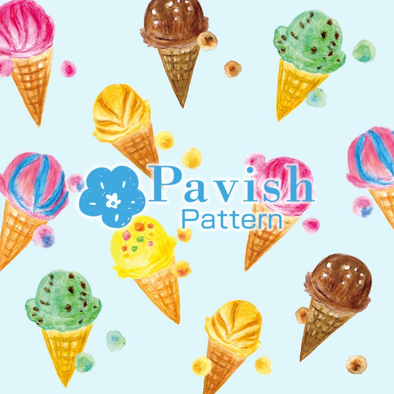 アイス柄 ブルー背景【Pavish Pattern】
