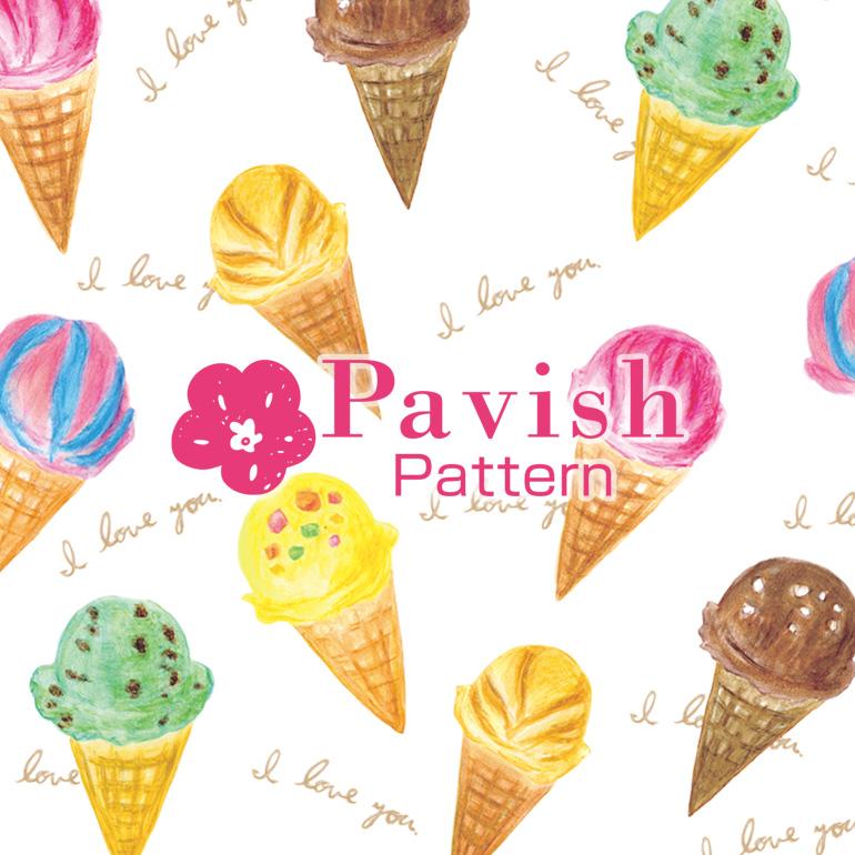 アイス柄(フォント入り)【Pavish Pattern】
