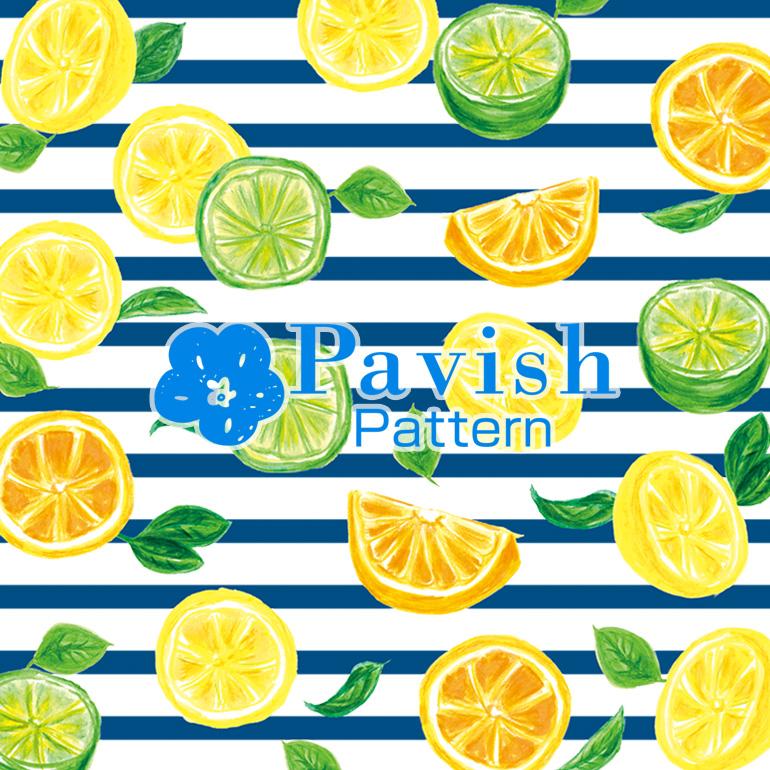 シトラス柄 背景ストライプ【Pavish Pattern】
