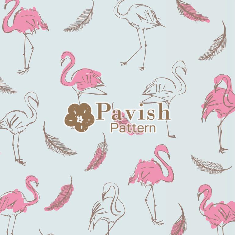 フラミンゴ柄 ブルー背景【Pavish Pattern】