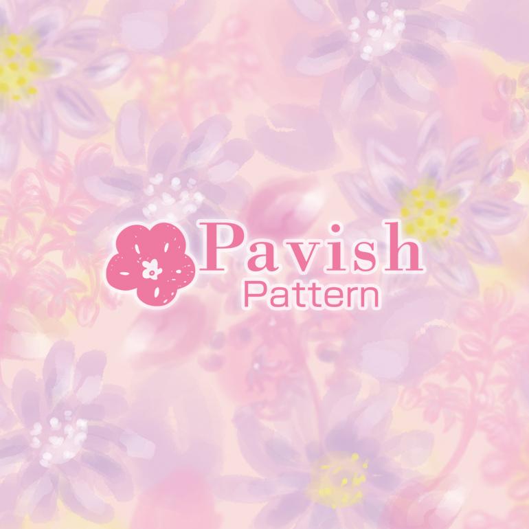 ユキワリイチゲとライラックのパターン【Pavish Pattern】