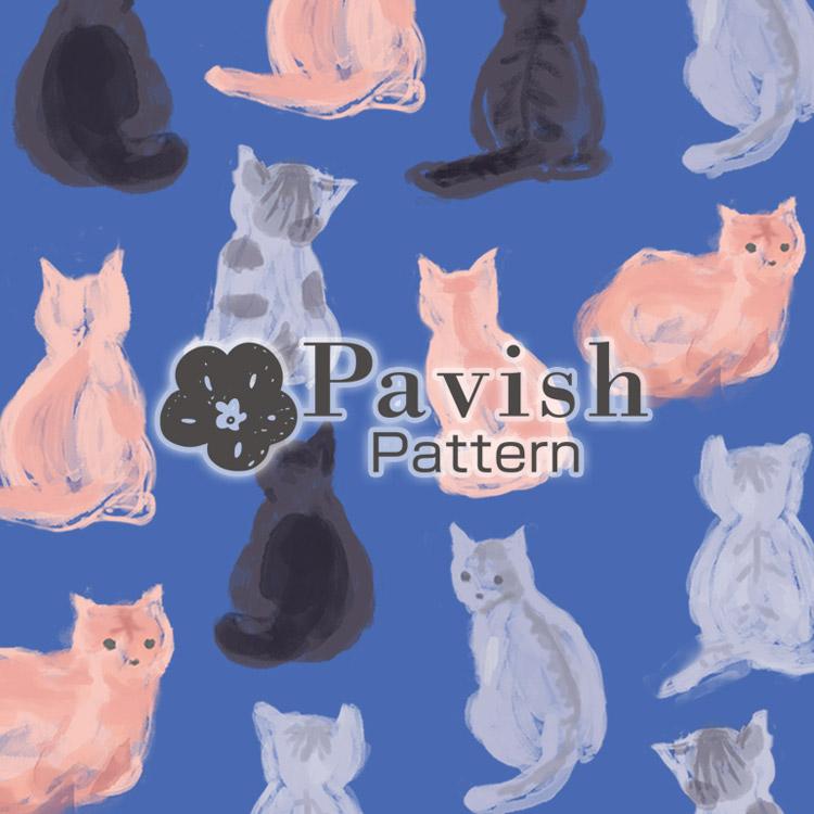 HAPiNSコラボ ねこのパターン(ブルー)【Pavish Pattern】