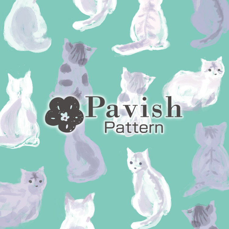 HAPiNSコラボ ねこのパターン(ミント)【Pavish Pattern】