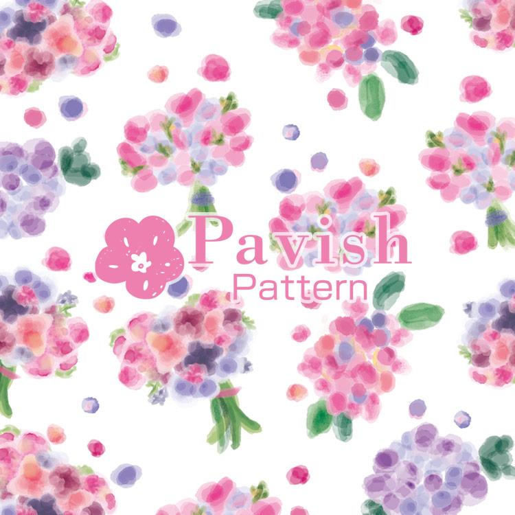HAPiNSコラボ 花束パターン ピンク【Pavish Pattern】