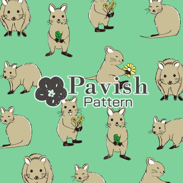 クアッカワラビーのパターン グリーン【Pavish Pattern】