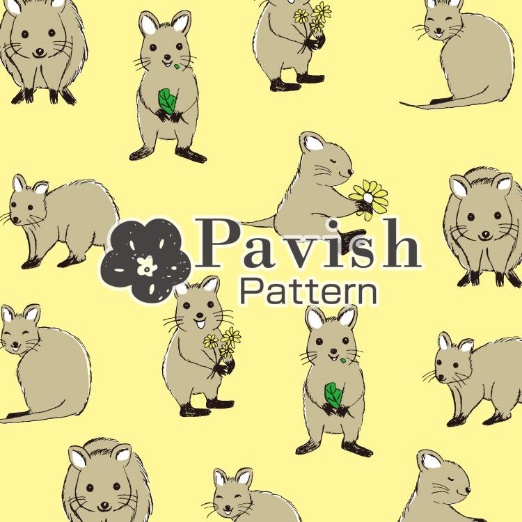 クアッカワラビーのパターン イエロー【Pavish Pattern】