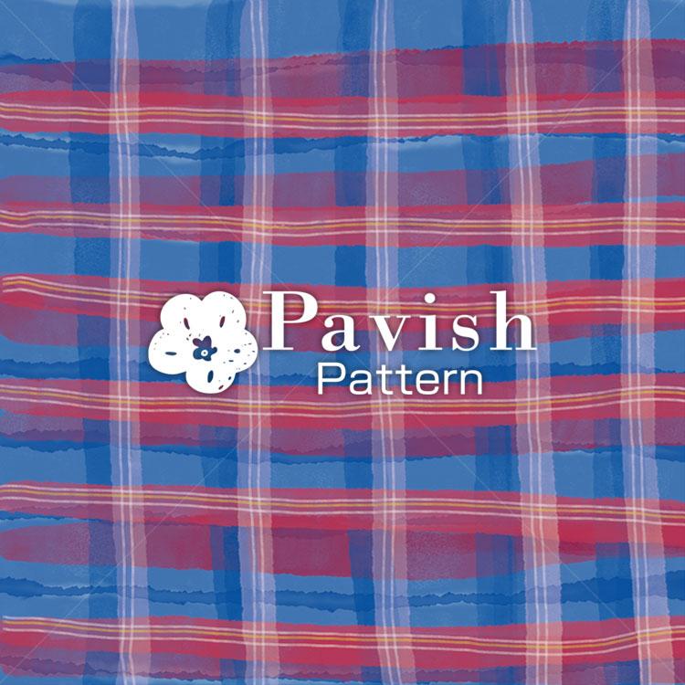 チェック柄 レッド✕ブルー【Pavish Pattern】