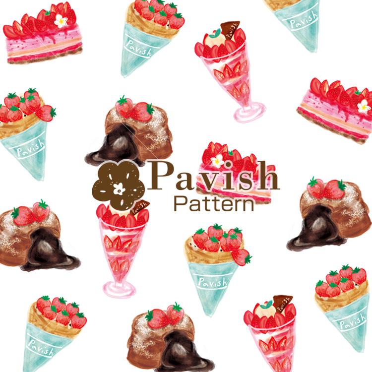いちごのデザートのパターン【Pavish Pattern】