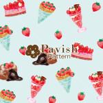 いちごのデザートのパターン ミント 【Pavish Pattern】