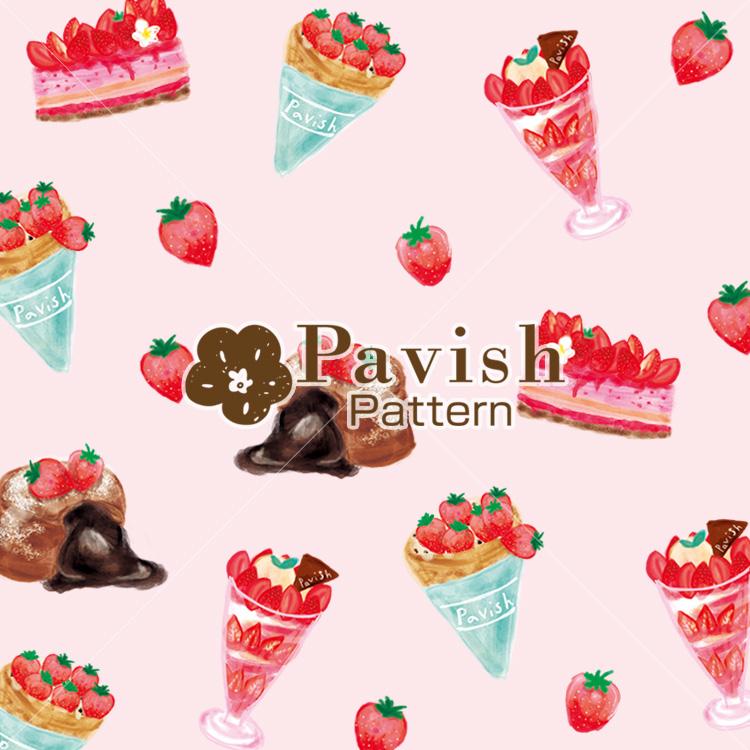 いちごのデザートのパターン ピンク【Pavish Pattern】