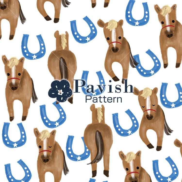 馬と馬蹄のパターン(ホワイト)【Pavish Pattern】