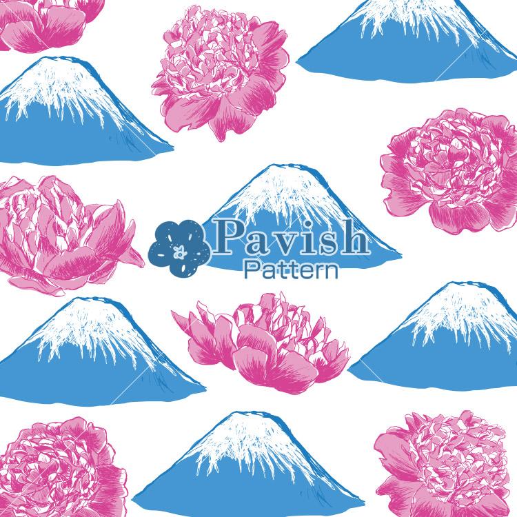 富士山と芍薬《富士》のパターン【Pavish Pattern】