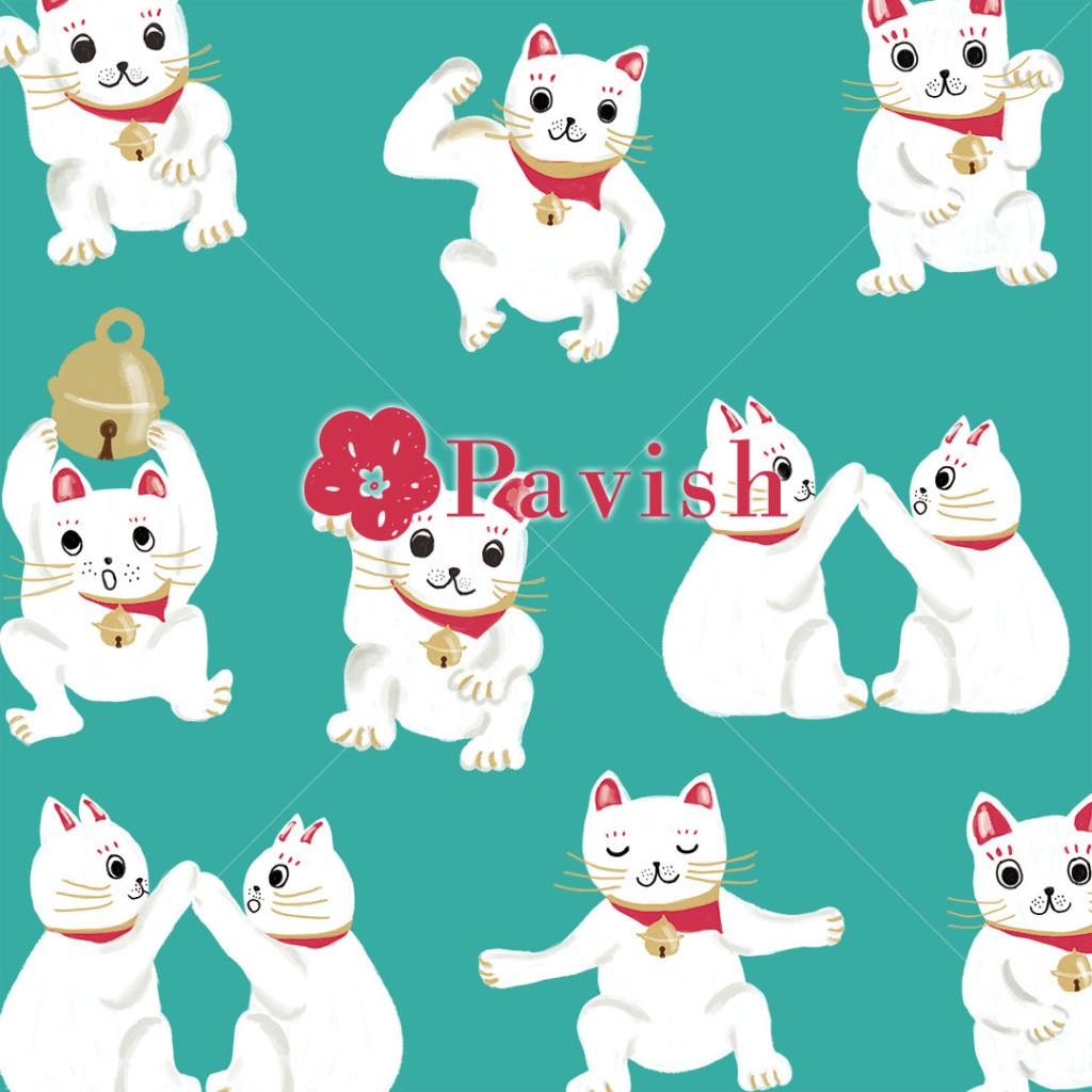 招き猫のパターン(グリーン)【Pavish Pattern】