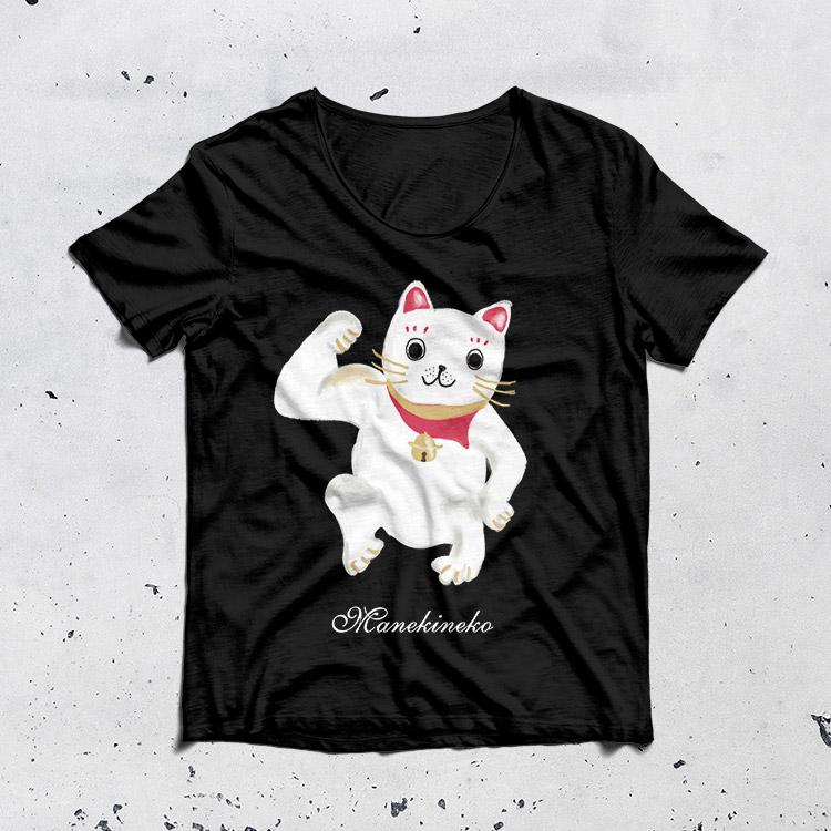 招き猫Tシャツ【Pavish Pattern】