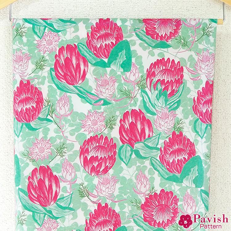 プロテアとセルリアのスカーフ【Pavish Pattern】