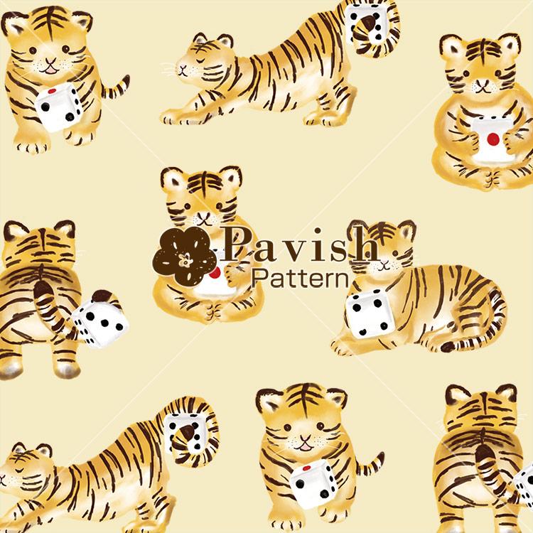 トラとサイコロのパターン(イエロー)【Pavish Pattern】
