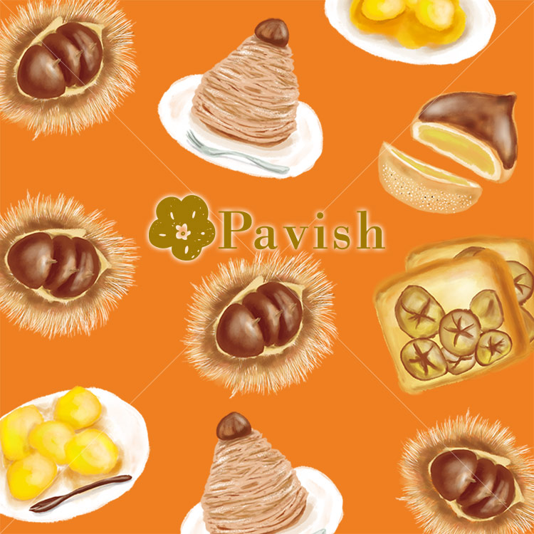 栗のデザート(オレンジ)【Pavish Pattern】
