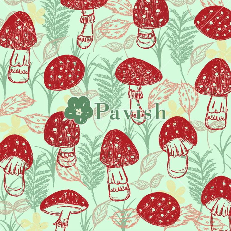 幸運を呼ぶキノコ~ベニテングタケのパターン~(グリーン)【Pavish Pattern】