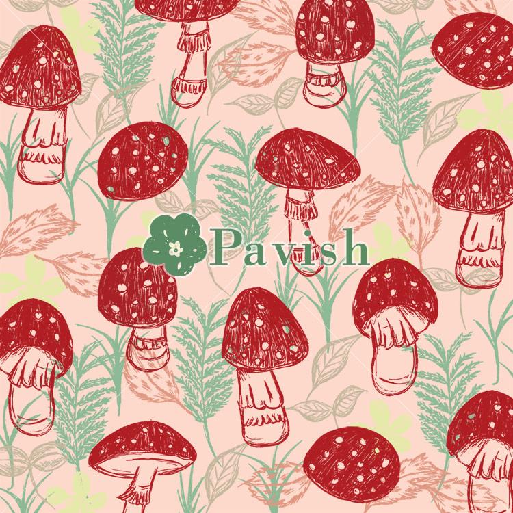幸運を呼ぶキノコ~ベニテングタケのパターン~(ピンク)【Pavish Pattern】
